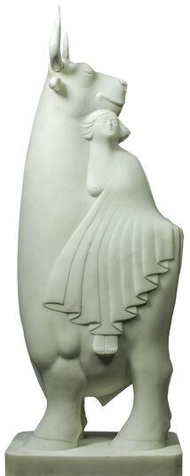 """Evert den Hartog: Skulptur """"Europa und der Stier"""", Marmor"""
