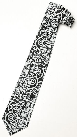"Gustav Klimt: Silk tie ""Black and White"""