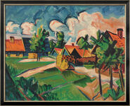 """Painting """"Evening Clouds"""" (1922), Framed"""