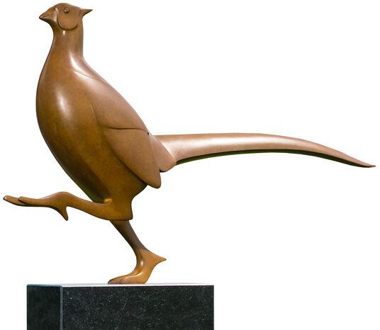 "Evert den Hartog: Skulptur ""Fasan Nr. 8"", Bronze braun"
