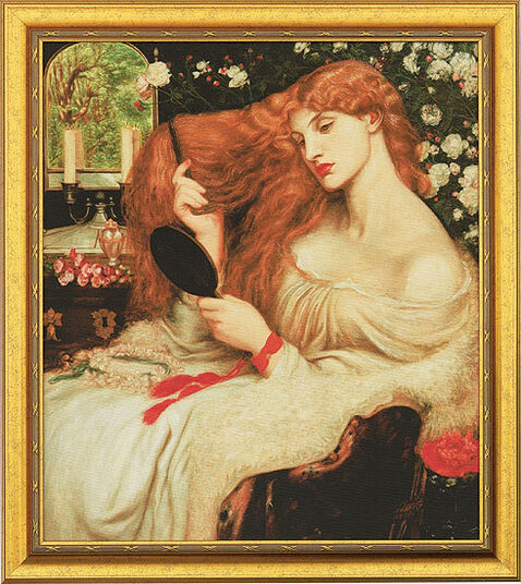 "Dante Gabriel Rossetti: Picture ""Lady Lilith"" (1864-66) in a gold frame"