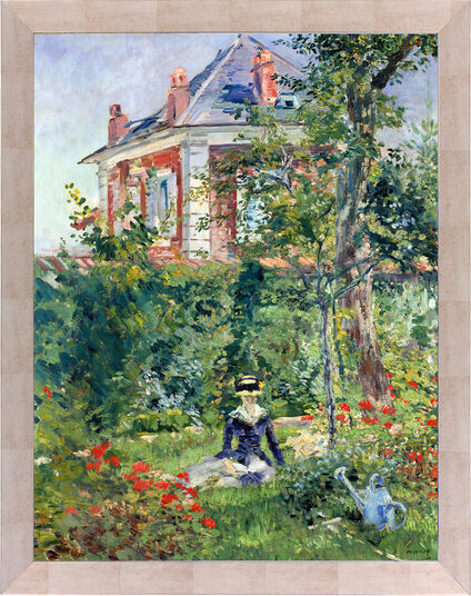 "Edouard Manet: Picture ""Marguerite in the garden of Bellevue"" (1880) framed"