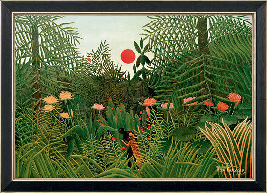 "picture""jungle Landscape with Setting Sun"" (1910) in museum frame"