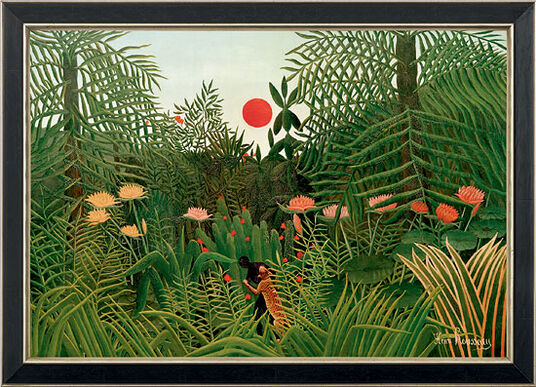 "Henri Rousseau: picture""jungle Landscape with Setting Sun"" (1910) in museum frame"