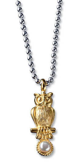 "Necklace gold ""Owl with Pearl"", 925 Sterling silver"