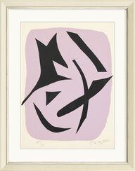 """Bild """"Vol d´Oiseaux Noirs sur Fond Rose"""" (1962)"""