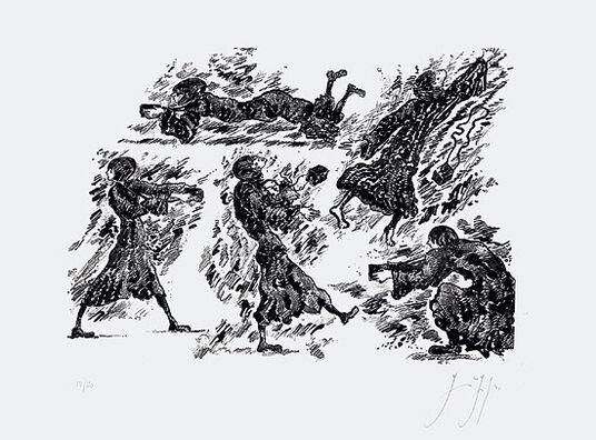 "Günter Grass: Bild ""Knips mal, Mariechen"" (2008), ungerahmt"