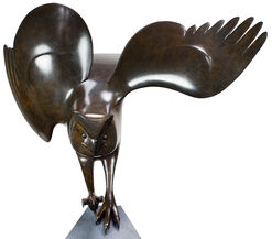 "Sculpture ""Landing Owl Nr. 5"", Brown Bronze/Black"
