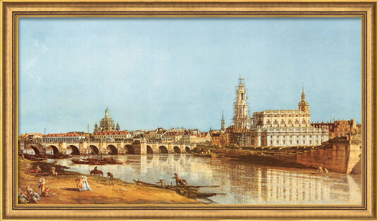 "Bernardo Bellotto (Canaletto): Bild ""Dresden vom rechten Elbufer"" (1751), gerahmt"