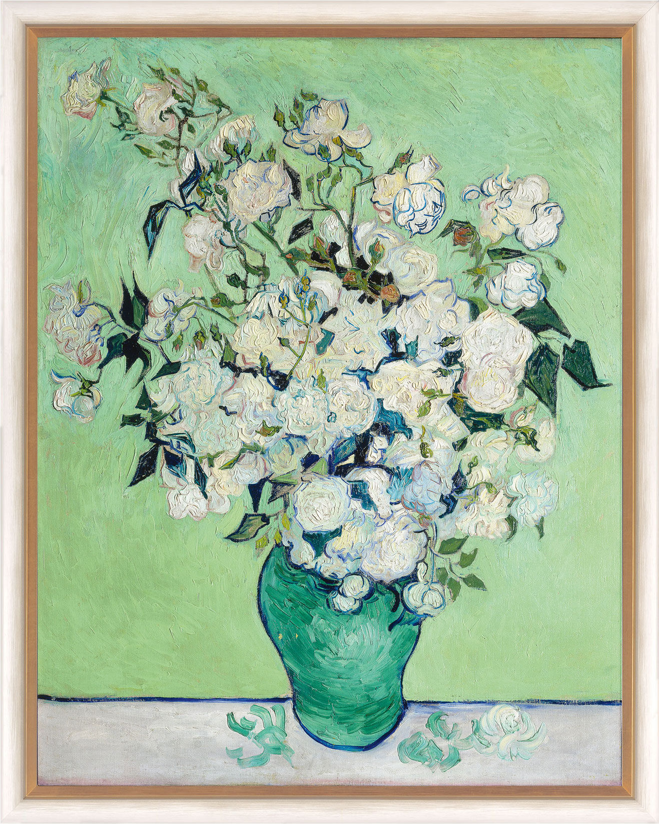 "Painting ""Vase with white Roses"" (1890) in a frame"