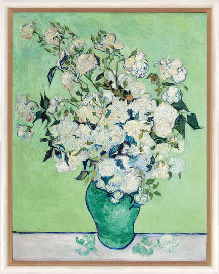 "Vincent van Gogh: Painting ""Vase with white Roses"" (1890) in a frame"