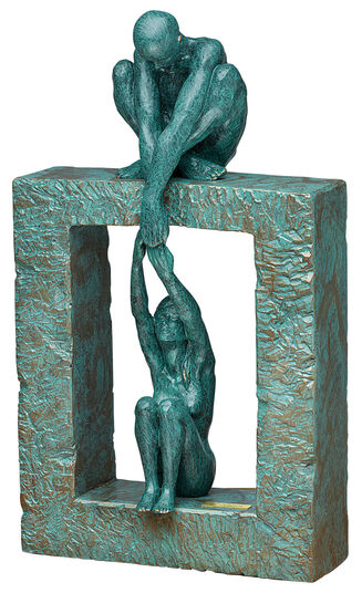 """Angeles Anglada: Sculpture """"Connection"""", art casting"""