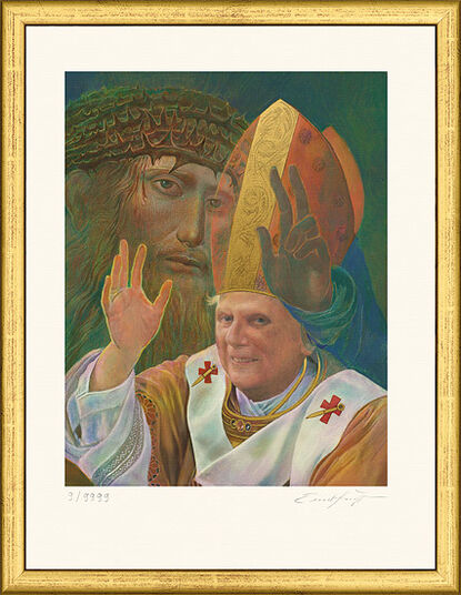 "Ernst Fuchs: Picture ""Portrait Pope Benedict XVI."" (2006) in a gold frame"