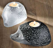 "2 Glass Tea Light Holders ""Hedgehog"" in Set"