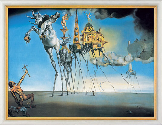 "Salvador Dalí: Bild ""Die Versuchung des Heiligen Antonius"" (1946), gerahmt"