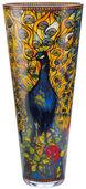 """Glasvase """"Pfau"""" mit Golddekor (große Version, Höhe 60 cm)"""