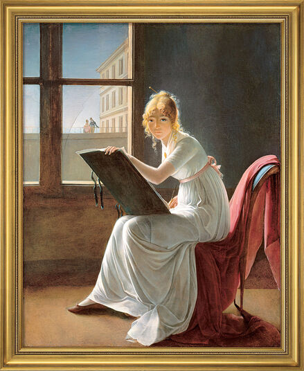 "Marie-Denise Villers: Picture ""Drawing Young Woman"" (1801) in studio framing"
