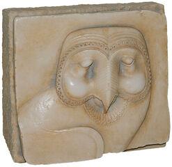 """Ägyptisches Sandstein-Relief """"Schleiereule"""", Version als Standobjekt"""