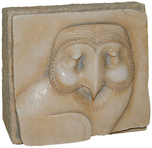 "Egyptian sandstone relief ""Barn Owl"" standing object edition"