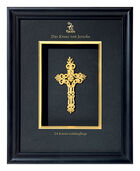 """Jericho Cross"" Gold-plated 24 carat, in a wooden frame"