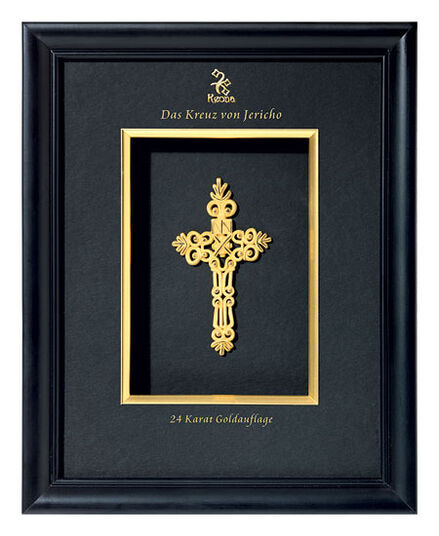 """""""Jericho Cross"""" Gold-plated 24 carat, in a wooden frame"""