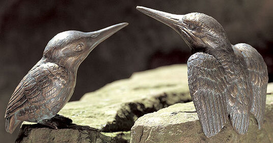 """2 landscaping sculptures """"Pair of kingfisher"""" made of Bronze (self-assembly)"""