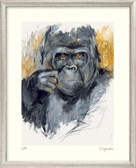 """Bild """"Gorilla (Teak)"""" - aus Bilderzyklus """"Bedrohte Tierwelt"""", gerahmt"""