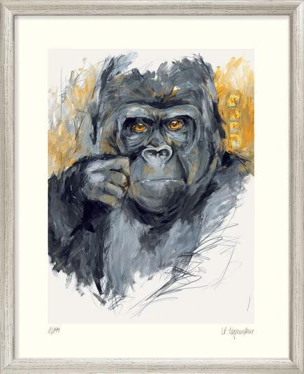 """Audrey Hagemann: Bild """"Gorilla (Teak)"""" - aus Bilderzyklus """"Bedrohte Tierwelt"""", gerahmt"""
