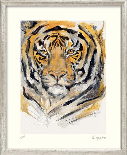 """Audrey Hagemann: Bild """"Tiger (Menschenmassen)"""" - aus Bilderzyklus """"Bedrohte Tierwelt"""", gerahmt"""