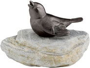 "Garden Sculpture ""Sparrow on boulder"", copper"
