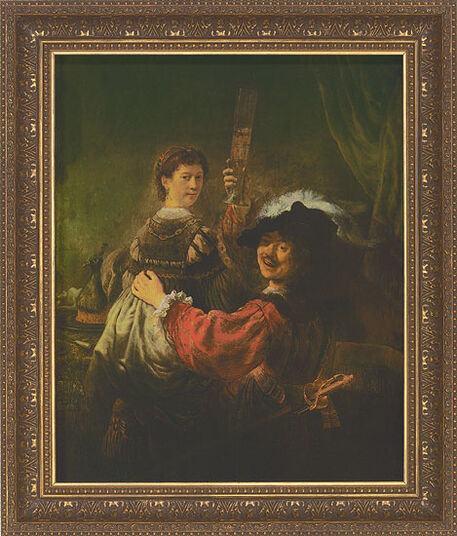 """Rembrandt: Bild """"Selbstbildnis mit Saskia"""", 1635-39, gerahmt"""