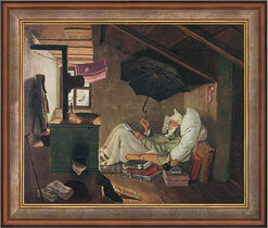 "Painting ""The Poor Poet"" (1839) in studio framing"