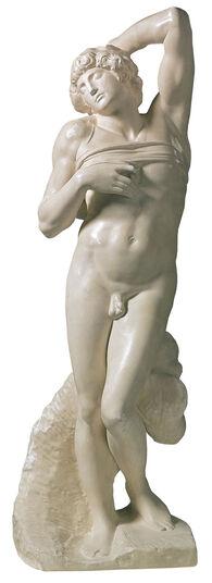 "Michelangelo Buonarroti: Skulptur ""Sterbender Sklave"" (1513), Reduktion in Kunstmarmor"