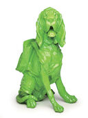 "Sculpture ""Cloned Bloodhound with Rucksack???"" (2010), green"
