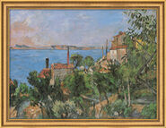 "Painting ""The Sea at L´Estaque"" (1876) in studio framing"