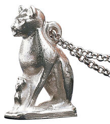 "Pendant ""Bastet Cat"" with necklace, silver"