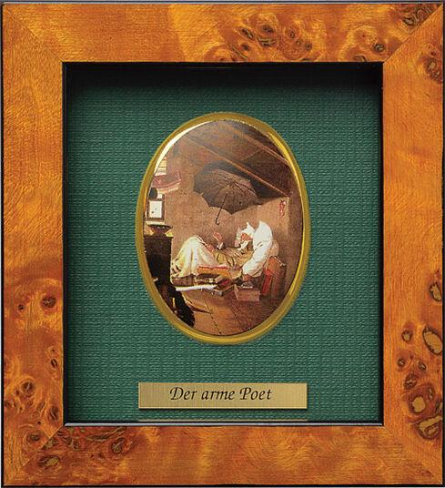 "Carl Spitzweg: Miniatur-Porzellanbild ""Der arme Poet"" (1839), gerahmt"