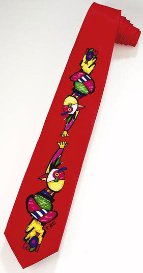 "Otmar Alt: Silk tie ""Hand in Hand"", red version"