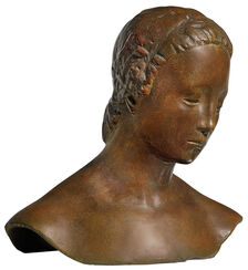 "Büste ""Gesenkter Frauenkopf"" (1910), Version in Bronze"