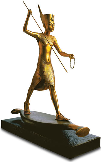 Sculpture 'Tutankhamun with Harpoon', gold-plated by hand