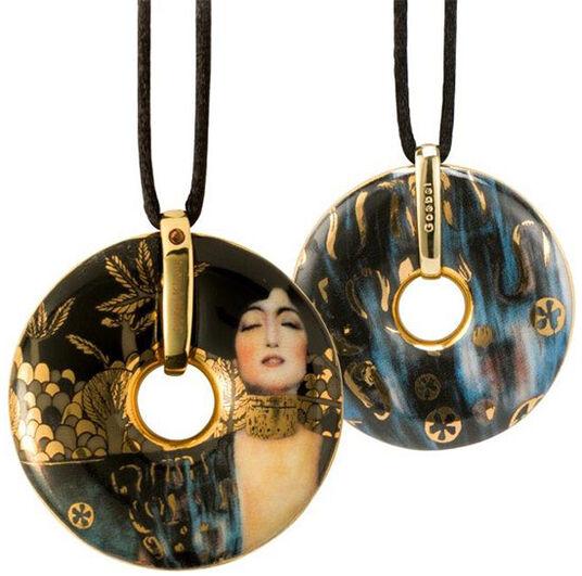 """Gustav Klimt: Porzellan-Anhänger """"Judith"""" mit Stoffband"""