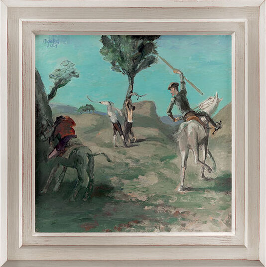 "Harald Metzkes: Bild ""Don Quijote befreit den geprügelten Knaben"" (2009) (Original / Unikat), gerahmt"