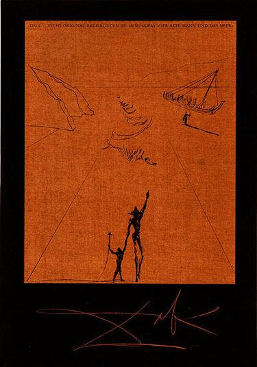 """Salvador Dalí: Bildmappe """"Der alte Mann und das Meer"""" (1974), gerahmt"""