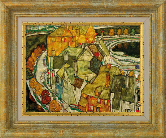 """Egon Schiele: Bild """"Der Häuserbogen"""" (1915), gerahmt"""