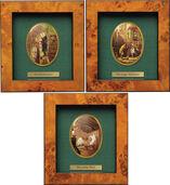 3 Miniatur-Porzellanbilder mit Künstlermotiven im Set