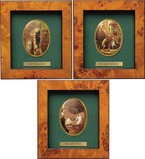 Carl Spitzweg: 3 Miniatur-Porzellanbilder mit Künstlermotiven im Set