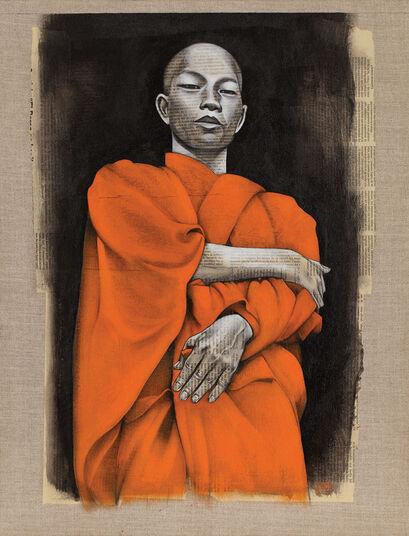 "Omar Abud: Bild ""Monje budista"" (2009) (Original / Unikat), ungerahmt"