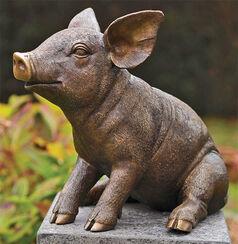 "Gartenskulptur ""Ferkel, sitzend"", Bronze"