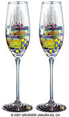 "(868A) Sparkling wine glass ""Pacific Steamer"", 2 part set"