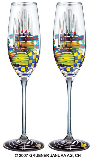 "Friedensreich Hundertwasser: (868A) Sparkling wine glass ""Pacific Steamer"", 2 part set"